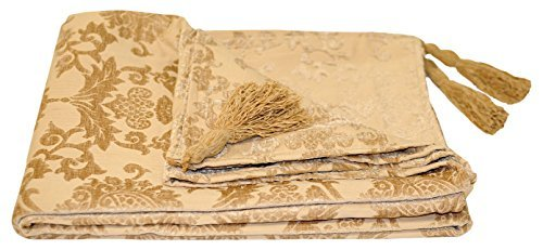 Hanover Beige Decorative Sofa, Chair or Bed Throw Throwover Blanket - 135 x 180 cm - Damask Design By Paoletti by Hanover