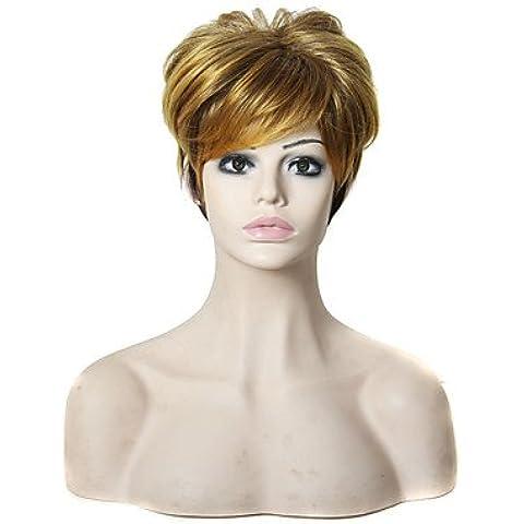 OOFAY JF ® capelli corti dritti alta luce parrucca bionda 6 pollici tagliato parrucche sintetiche dei capelli