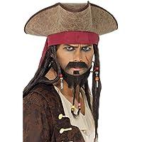 Smiffy's Smiffys-33626 Sombrero de Pirata, con Pelo Rasta Color marrón Tamaño único 33626