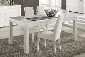 Table de salle à manger design LUCIA, coloris blanc laqué, disponible en 2 dimensions L 160 x P 90 x H 77 cm