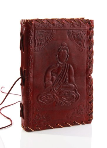 Piacevole Handmade Embossed Leather ufficiale Pad Notebook Diary (15.2 X 10.7 x 2.5 cm) Personal Organizer Planner con Buddha design