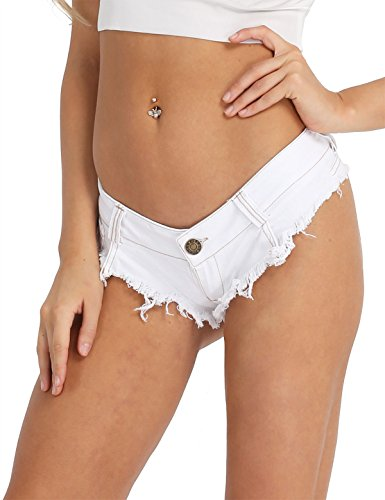 - Weiß-ultra Low Rise Jeans (iixpin Damen Bikinihose Beachshort Hotpants Jeansshorts Denim Shorts Destroyed Style Jeans Hose Slip Hipster S M L Weiß Medium)