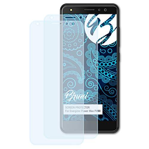 Bruni Schutzfolie für Energizer Power Max P490 Folie, glasklare Bildschirmschutzfolie (2X)
