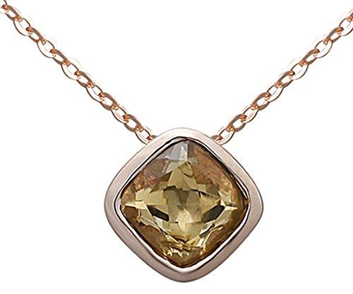 Bishiling Schmuck 925 Sterling Silber Kette Anhänger Damen Charm Rechteck Kristall Rosegold Halskette