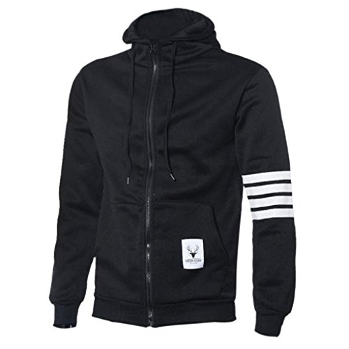 VENMO Männer Baumwoll-Sweatshirt Hoodie Lässiger Zipper Kapuzenjacken Herren Sweatjacke Zip Hoodie Kapuzenjacke Original Zip Hoodie Kapuzenjacke Male Zipped Jacket Übergang Sweatblazer (XL, Black) Edge Zip Hoody