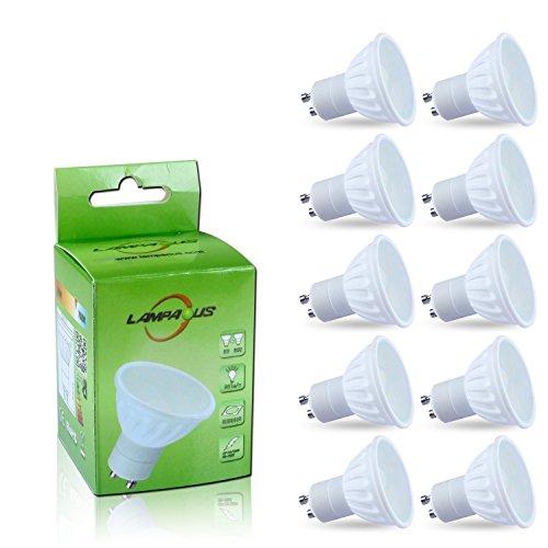Lampaous 10er Pack led gu10 4w warmweiss 2835 20SMD Keramik Milchglas Abdeckung 400lm 230V AC Led Leuchtmittel Spot[Energieklasse A++] -