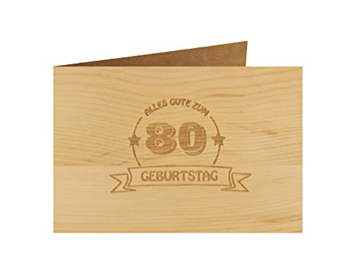Holzgrußkarte - Geburtstagskarte - 100% handmade in Österreich - Postkarte Glückwunschkarte Geschenkkarte Grußkarte Klappkarte Karte Einladung, Motiv:ALLES GUTE 80 GEBURTSTAG (80. Geburtstag Einladungen)
