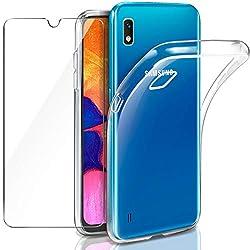 Leathlux Samsung Galaxy A10 Hülle + Panzerglas, Samsung Galaxy A10 Durchsichtig Case Transparent Silikon TPU Schutzhülle Premium 9H Gehärtetes Glas für Samsung Galaxy A10