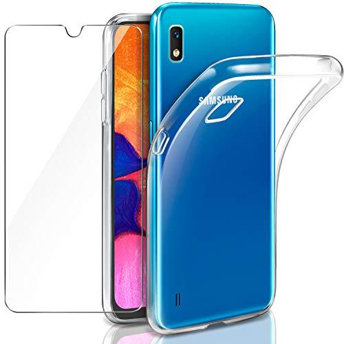"""Leathlux Coque Samsung Galaxy A10 Transparente + Verre trempé Protection écran, Souple Silicone étui Protecteur Bumper Housse Clair TPU Gel Case Cover Coque pour Samsung Galaxy A10 6.2"""""""