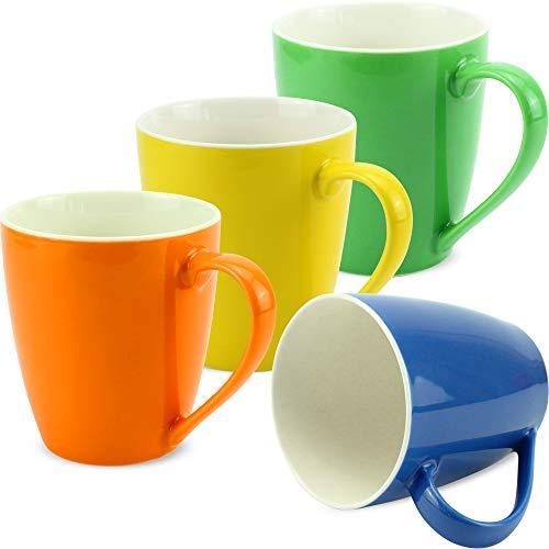 matches21 Tassen Becher Unifarben/einfarbig Set Kaffeetassen Kaffeebecher orange grün gelb blau Porzellan 4er Set je 10 cm / 350 ml