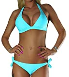 ALZORA Neckholder Damen Bikini Push Up Set Top und Hose