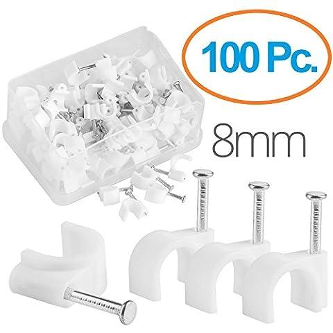 MutecPower Kabelschelle 8mm rund Nagelschelle Weiß - 100 Stück