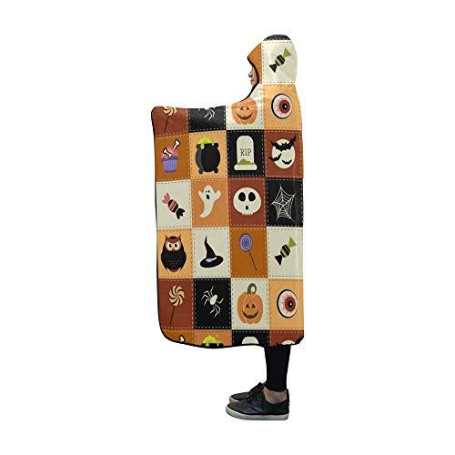 Mit Kapuze Decke Halloween Elements Raster Version Decke 60 x 50 Zoll Comfotable Hooded Throw (Große Vogel Teen Kostüm)