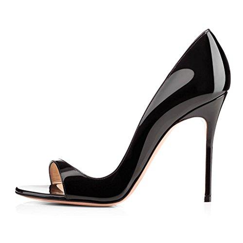 4f5c5009e3 elashe Escarpins Femms Bout Ouvert Talon Aiguille 12cm Talon Haut Chaussures  de Soirée Mariage