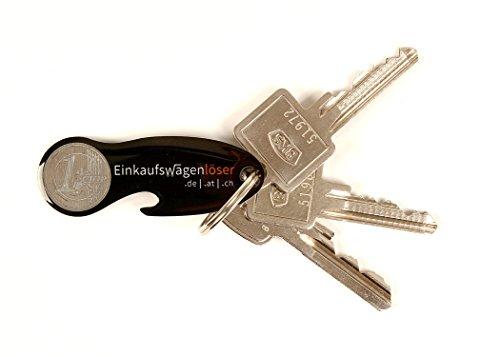 Code24 Einkaufswagenlöser Münze, Schlüsselanhänger mit Einkaufschip & Schlüsselfinder, inkl. Registriercode für Schlüsselfundservice, multifunktionale Einkaufswagenchips, Key-Finder, schwarz