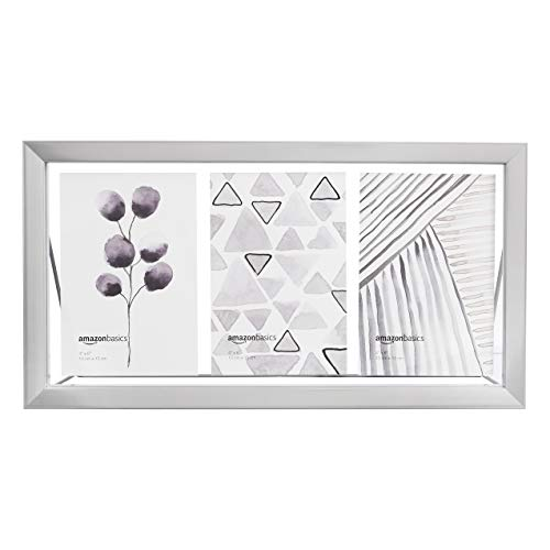 AmazonBasics Schwebende 3er-Bilderrahmen-Collage, 10 x 15 cm, Nickelfarben