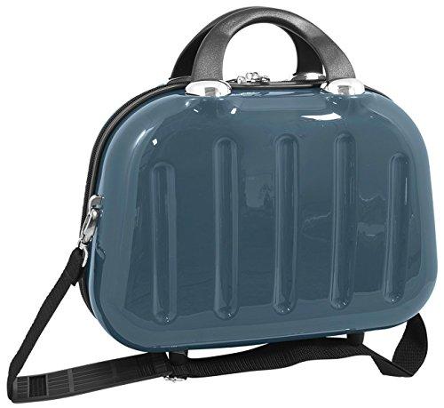 Beautycase Koffer Box Mauritius Taubenblau Blau 34x26x17 cm multi Kosmetikkoffer Kosmetiktasche Beauty Case Schmuckkoffer Reisekoffer mit Trolley befestigung und umhängegurt Bowatex