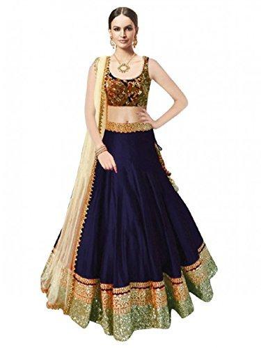 Market Magic World Women\'s Banglory Silk Anarkali Lehenga Choli (Free Size_ Nevy Blue_MMW_lehengha_4061_Half Sleeve)