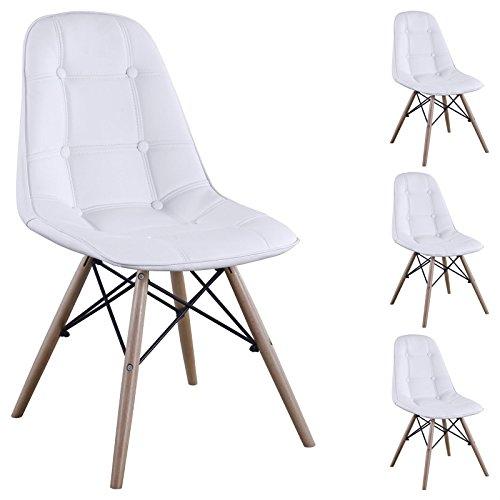 IDIMEX Esszimerstuhl Design Retro Stuhl Polsterstuhl 4er Set Cesar Lederimitat Buchenholz weiß