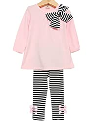 Vogholic Kleine Madchen Bowknot T-Shirts Top + Gestreifte Leggings