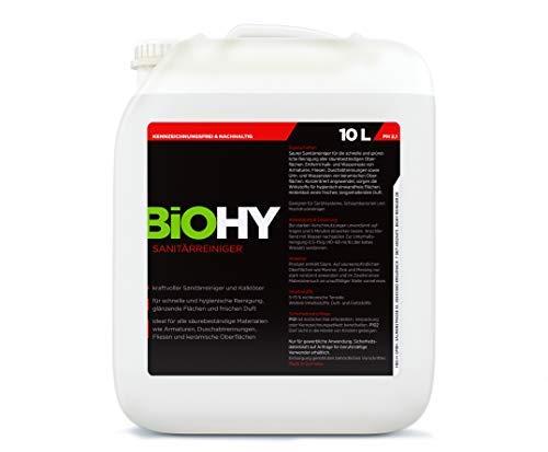BIOHY Sanitärreiniger 10 Liter Kanister kraftvoller Bad Reiniger, Toilettenreiniger, Kalklöser, fruchtiger Duft, für glänzende Fließen/Flächen - Profi Bio-Kalkreiniger, Öko Reinigungsmittel