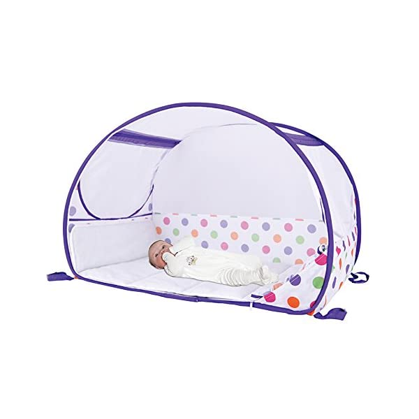 Koo-di Pop Up Travel Bubble Cot (Polka Dot Print)  A comfortable cot ideal for use at home and on holidays or weekends away A polycotton travel cot Ideal 6-18 months and when outgrown, makes an ideal playhouse for little ones 4