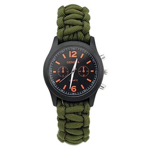 Paracord Universal Armband mit Uhr und Feuerstarter von der Marke PRECORN Armbanduhr Outdoor Camping Survival-Seil zum Armband geflochten aus reißfestem Parachute Cord Paracord...