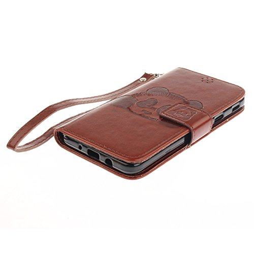 Für Samsung Galaxy J5 Prime Case, Embossing Texture Magnetic Flip Stand PU / TPU Leder Brieftasche Fall mit Lanyard & Halter & Card Slots ( Color : Blue ) Brown