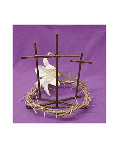 Dornenkrone mit Golgatha Kreuz und lila Stoff (Kreuz Mit Dornenkrone)