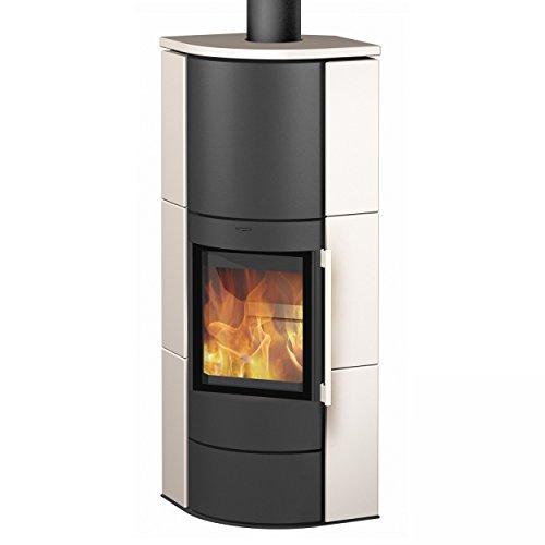 Eck-Kaminofen Fireplace Adelaide Keramik in Weiß, wandbündig 6 kW