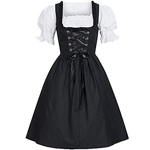 OHQ Dirndl Kostüm für Damen im traditionellen Trachten Look mit Kleider und Schürze,Bekleidung,Outfit für Karneval,Fasching, Halloween - Damen Oktoberfest-Kostüm (Schwarz, - Kostüm Kleid Schwarz Last Minute