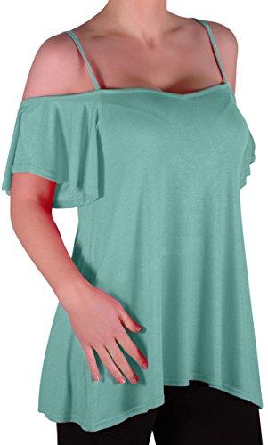 EyeCatch TM - Haut fines bretelles larges manches tombant sur les épaules - Cherie - Femme Aqua Bleu