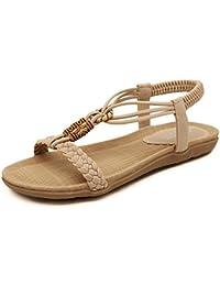 SUNAVY Damen Bling Strass Knöchelriemchen Sandalen,Böhmen Flache Sommer Strand Schuhe mit Metall Knopf Dekoration, Aprikosen,EU44