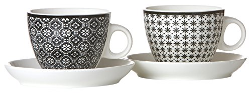 Ritzenhoff & Breker 083323Set Tazze da caffè Maya, 6pezzi, 300ml, Porcellana, Bianco/Nero, Porcellana, Weiß und Schwarz, 22x17x17 cm