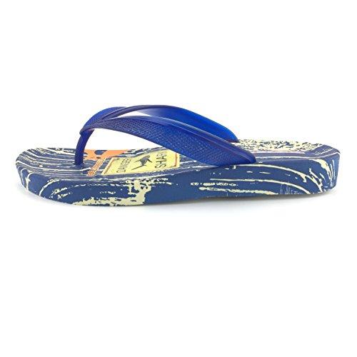 Gezer Herren Slipper Pantolette Sandale Freizeit Zehentrenner Gr. 40-44 Neu Blau
