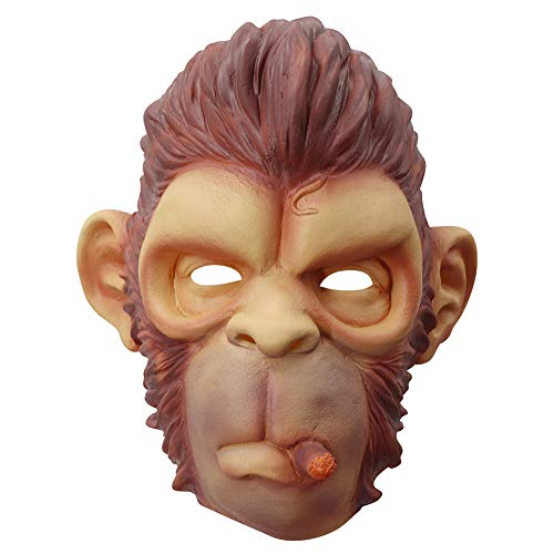 ZHEN Monkey Mask, Halloween Kostüm Party Animal Gorilla Head, Adult Schimpanse Brown Neuheit Kopf Funny Animal Head - Gorilla Party Animal Kostüm