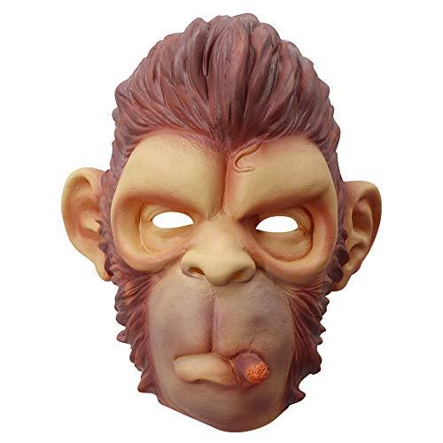 ZHEN Monkey Mask, Halloween Kostüm Party Animal Gorilla Head, Adult Schimpanse Brown Neuheit Kopf Funny Animal Head Cover (Gorilla Party Animal Kostüm)