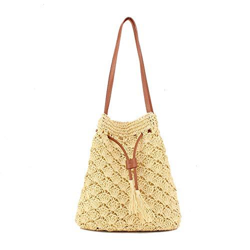 JAY-LONG Gewebte Damenhandtasche, EIN-Schulter-Beutel, Papierseil-Strohbeutel, Umhängetasche, Strandtasche, 80 cm Schultergurt, 23 * 30 cm