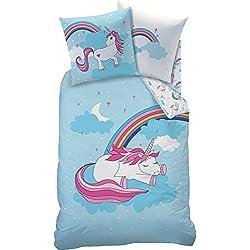 Mate & Rose Juego de cama Unicorn Sky Bleu Blanc Reversible imitación azul blanco 2piezas 135x 200cm 100% algodón Unicornio Cielo Diseño, tamaño: 135x 200cm + 80x 80cm
