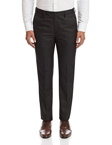 Peter England Men's Formal Trousers (8907411798347_PTF31602558_76/30W x 30L_Black and Grey)