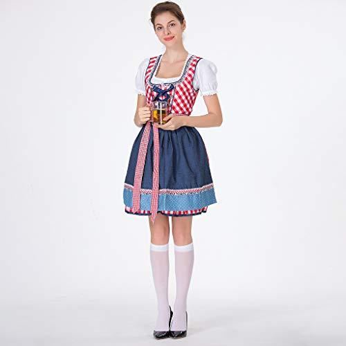 showkingL Bierfest, 3 Teile/Satz, Ärmelloses Kleid, Weiße Bluse, Schürze, Frauen Bardame Dirndl Kleid, Kreuz Bandage Square Neck Short Sleeve, Plaid Bayerische Kostüme (Pics Halloween-76 100)