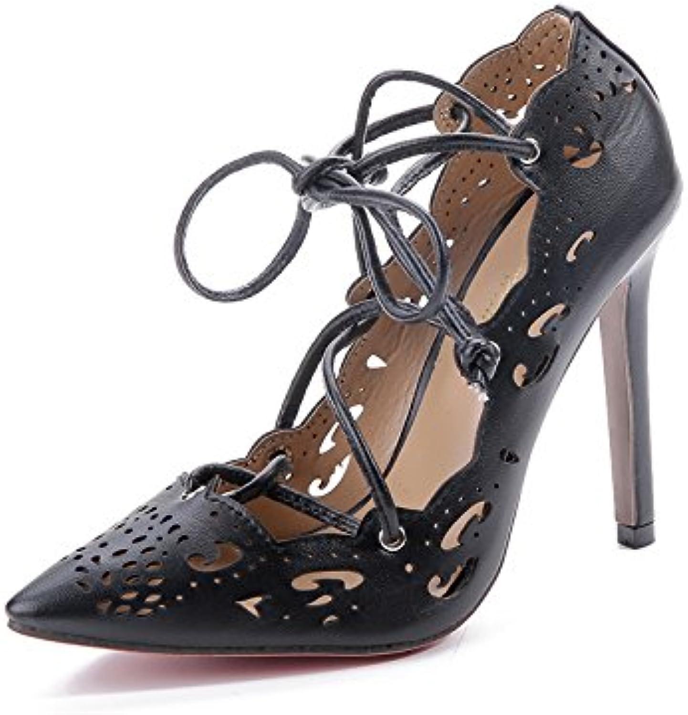 Tacones Altos Señaló Hollow Tacones De Tiras Zapatos Sandalias,Black,Eu35Cn36