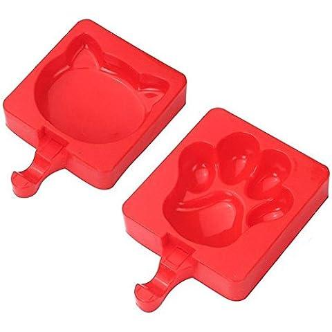 VANCORE (TM) Bear Foot ghiaccio in silicone Popsicle Molds Con 20bastoncini di legno Cat + Bear