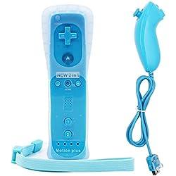 Manette pour Nintendo Wii avec Motion Plus Intégré - Coque en silicone - Pour Nintendo Wii, Wii U, et Mini Wii - Ulable
