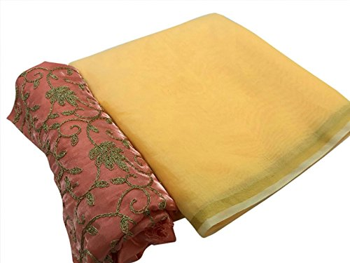 SilverStar Women's Chanderi Cotton Yellow Color Saree With Orange Color Embroidery Work...