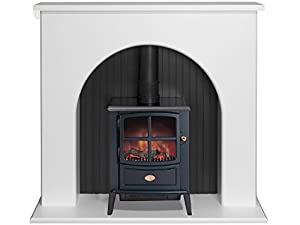 Adam Kirkham Stove Suite in Pure White with Dimplex Brayford Electric Stove in Black, 48 Inch