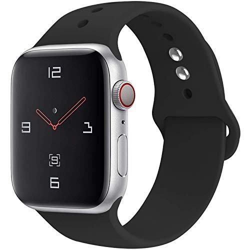 YOUKESI Compatible Apple Watch Armband 38mm, Soft Silikon Ersatz Uhrenarmbänder für iWatch Serie 3 Serie 2 Serie 1 Sport (38mm Schwarz) - Silikon-armband-nike