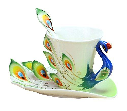 niceeshop(TM) Juego de Taza de Té Taza de Café de China Porcelana Esmalte de Fabricado a Mano con Cuchara y Platillo,