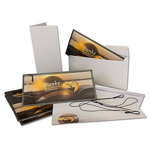 10x Trauer-Karten-Set I Adele - Buch-Herz-Motiv I DIN Lang (DL) Trauer-Danksagungs-Karten mit Umschlag & extra viele Einlege-Blätter & schwarzem Gummi-Band I NEUSER Trauer-Papiere