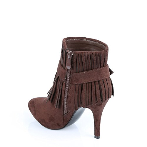 Ideal Shoes-Stiefel mit Fransen, Nadjet weicher Haptik Braun - braun
